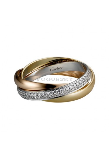 trinity de Cartier 3-gold ring covered diamond small models replica