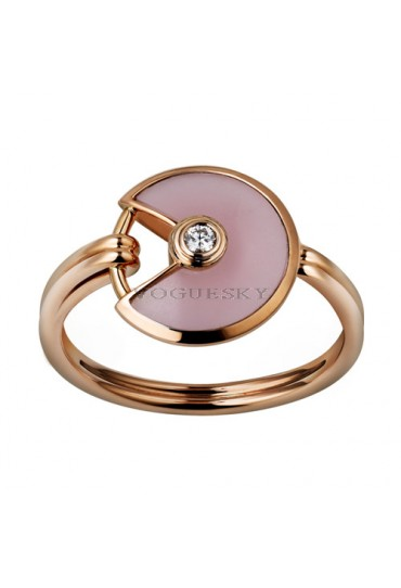 amulette de cartier pink gold ring pink opal diamond B4213400 replica