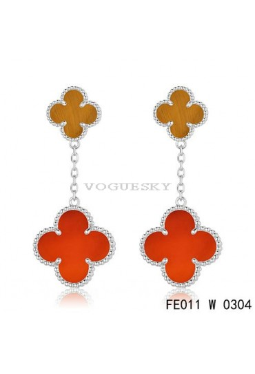 Van Cleef & Arpels White Gold Magic Alhambra 2 Stone Combinatio Motifs Earclips