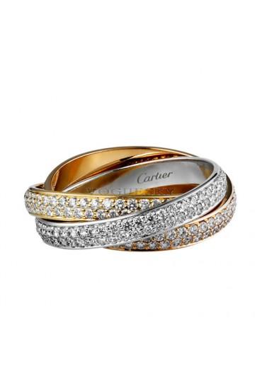 trinity de Cartier 3-gold ring 3 rings covered diamond N4227600 replica