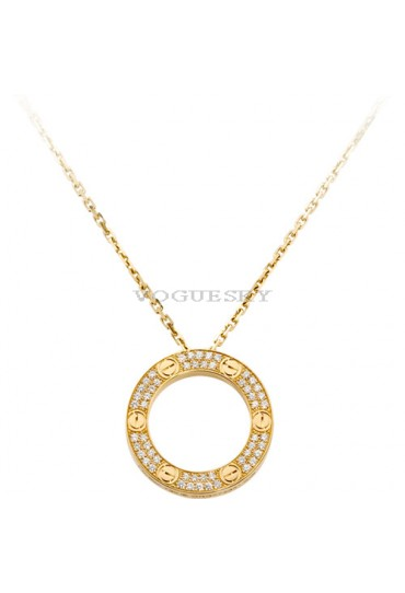 cartier love necklace yellow gold paved with diamonds pendant replica