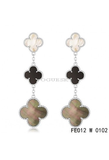 Van Cleef & Arpels Magic Alhambra 3 Clover Motifs Earclips in White Gold