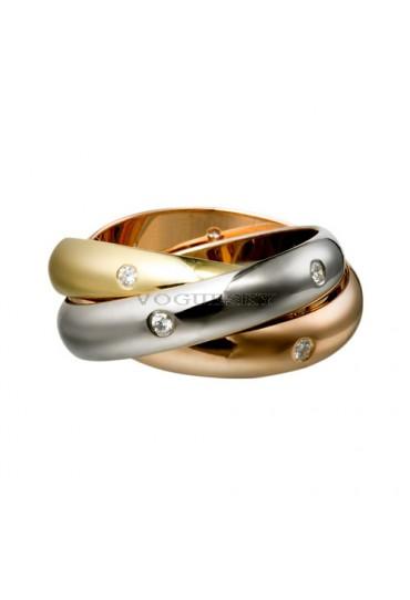 trinity de Cartier 3-gold ring mosaic diamond B4038800 replica