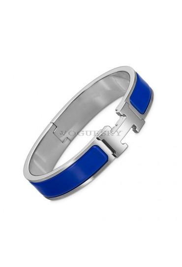 Hermes clic H bracelet white gold narrow royal blue enamel replica