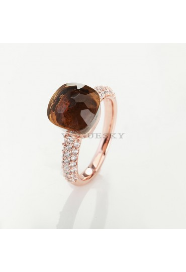 RING IN ROSE GOLD  WITH SMOKY QUARTZ AND DIAMONDS