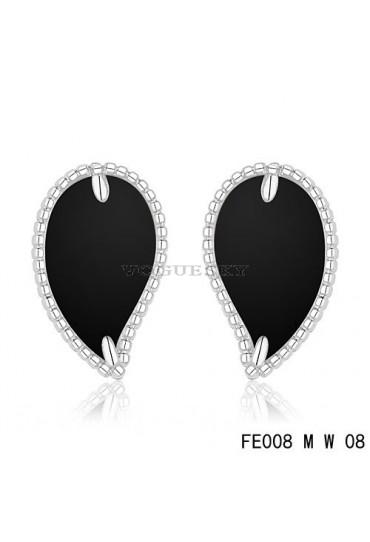 Van Cleef & Arpels White Gold Sweet Alhambra Leaf Earrings Black Onyx