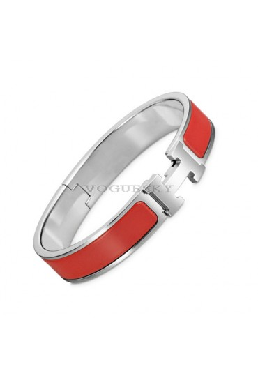 Hermes clic H bracelet white gold narrow coral red enamel replica