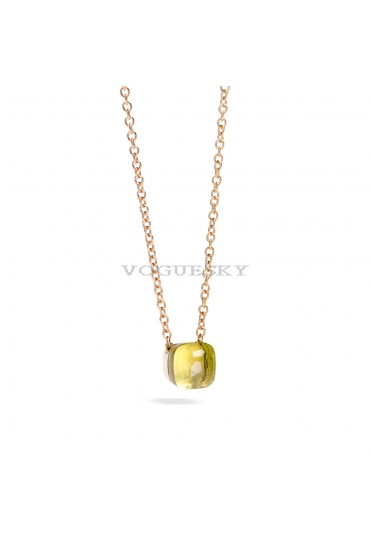 PENDANT WITH LEMON QUARTZ AND CHAIN IN ROSE GOLD