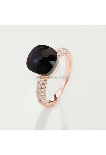 RING IN ROSE GOLD WITH AMETHYST AND DIAMONDS