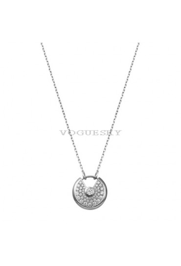 amulette de cartier white gold necklace Covered cut diamonds replica