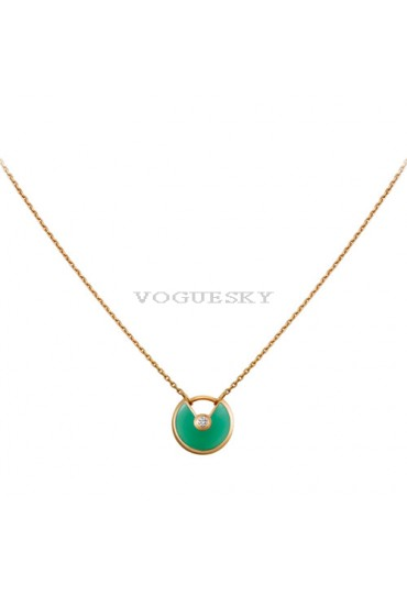amulette de cartier necklace yellow gold chrysoprase diamond pendant replica