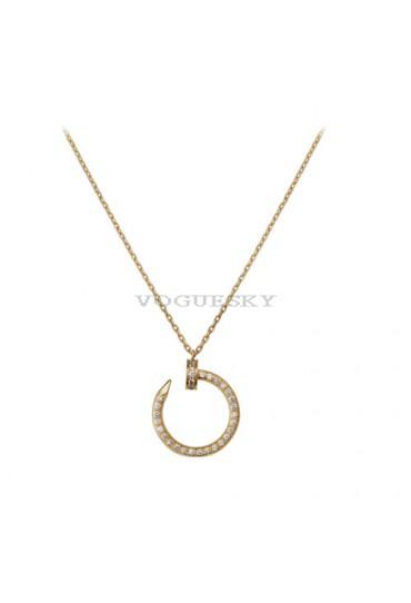 cartier juste un clou necklace 18k yellow gold covered 36 diamonds nail pendant replica
