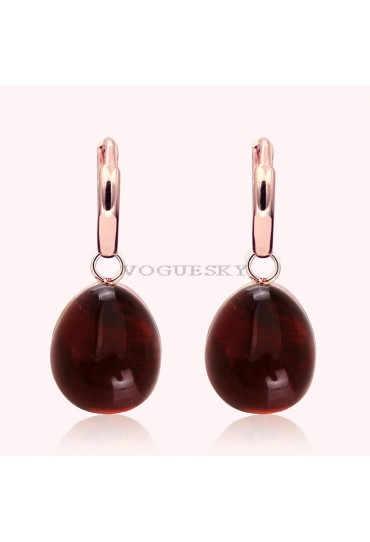 EARRINGS IN ROSE GOLD WITH GARNET