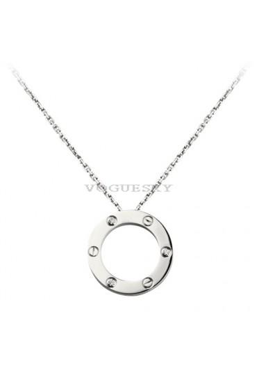cartier love necklace white gold with 3 Diamonds pendant replica