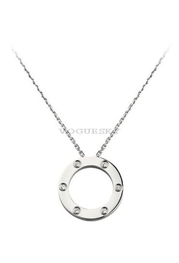 cartier love necklace white gold with 6 Diamonds pendant replica