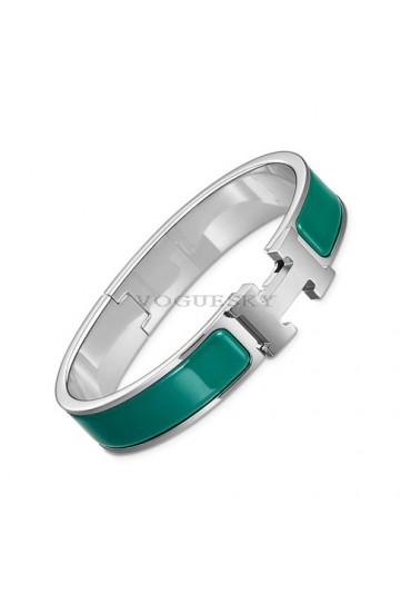 Hermes clic H bracelet white gold narrow blue green enamel replica