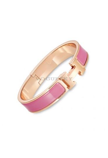 Hermes clic H bracelet pink gold narrow velvety pink enamel replica