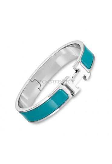 Hermes clic H bracelet white gold narrow duck blue enamel replica