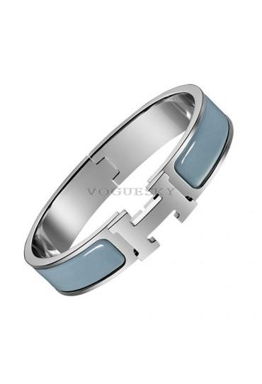 Hermes clic H bracelet white gold narrow Biarritz blue enamel replica