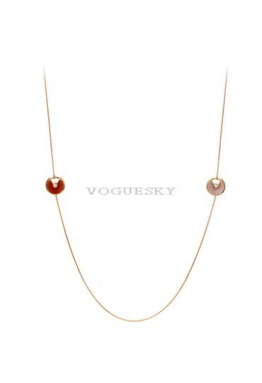 amulette de cartier pink gold necklace chrysoprase carnelian pink opal 6 diamond pendant replica