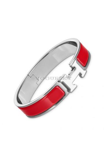 Hermes clic H bracelet white gold narrow bright red enamel replica