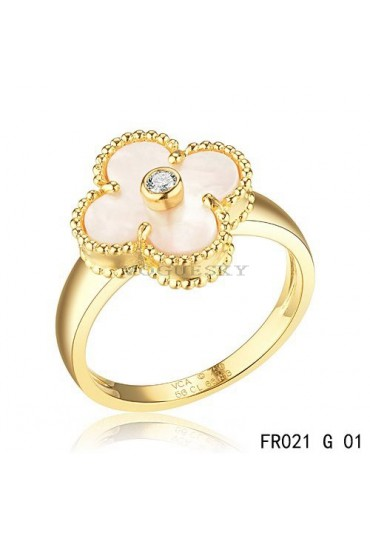 Van Cleef and Arpels Vintage Alhambra Ring Yellow Gold White Mother of Pearl with Diamond