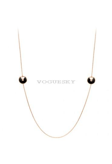 amulette de cartier pink gold necklace 6 onyx 6 diamond replica