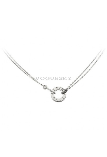 cartier love necklace white gold with 2 Diamonds double stranded pendant replica