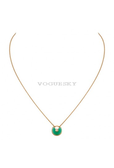 amulette de cartier necklace yellow gold chrysoprase diamond replica