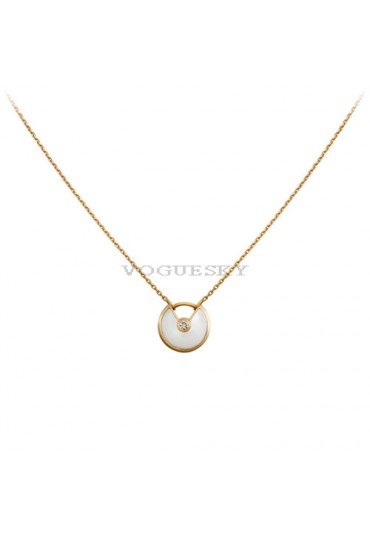 amulette de cartier necklace yellow gold white mother of pearl diamond replica