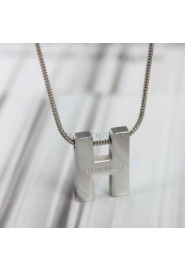 Hermes H pendant white gold chain necklace replica
