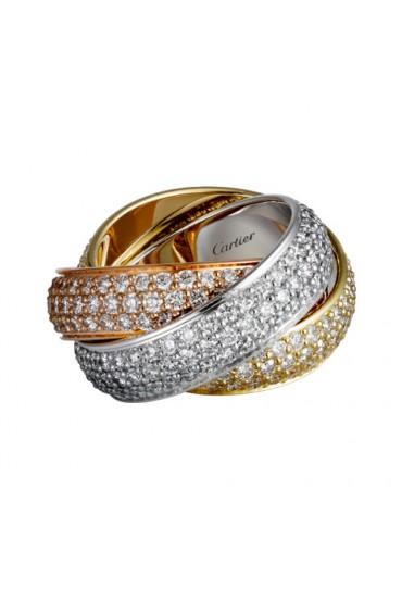 trinity de Cartier 3-gold ring 3 rings covered diamond N4210800 replica