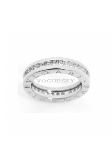 Bvlgari B.ZERO1 ring white gold 1 band with pave diamonds AN850656 replica
