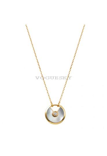 amulette de cartier necklace yellow gold white mother of pearl diamond pendant replica