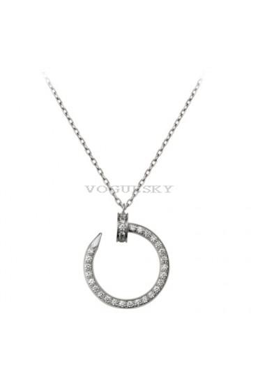 cartier juste un clou necklace 18k white gold covered 36 diamonds nail pendant replica