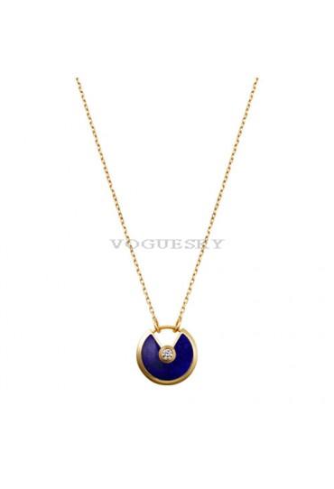 amulette de cartier necklace yellow gold lapis lazuli diamond pendant replica