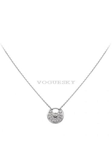 amulette de cartier white gold necklace Covered cut diamonds pendant replica