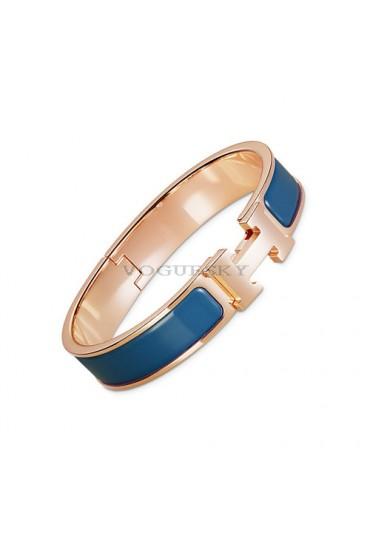 Hermes clic H bracelet pink gold narrow marble blue enamel replica
