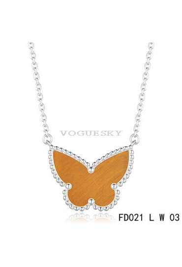 Van Cleef Arpels Lucky Alhambra Tiger's Eye Butterfly Necklace White Gold