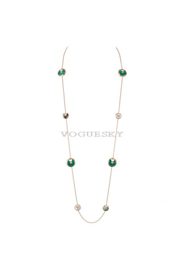 amulette de cartier pink gold necklace white and gray mother-of-pearl malachite pendant replica