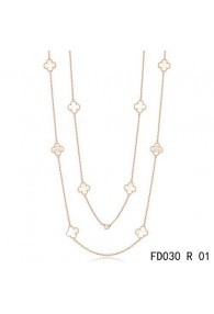 Van Cleef & Arpels Vintage Alhambra 10 Motifs White Mother of Pearl Long Necklace Pink Gold