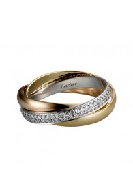 trinity de Cartier 3-gold ring covered diamond small models replica