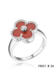 Van Cleef & Arpels White Gold Vintage Alhambra Carnelian Ring with Diamond