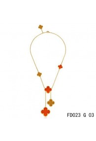 Van Cleef Arpels Magic Alhambra Yellow Gold Necklace 6 Clover Motifs Stone Combinatio