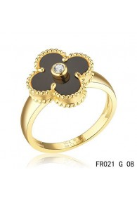 Van Cleef and Arpels Yellow Gold Vintage Alhambra Ring Black Onyx with Diamond