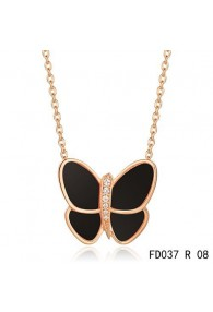 Van Cleef & Arpels Flying Butterfly Pendant,Pink Gold,Black Onyx