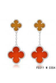 Van Cleef & Arpels White Gold Magic Alhambra 2 Stone Combinatio Motifs Earclips