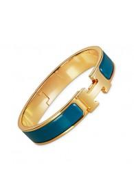 Hermes clic H bracelet yellow gold narrow deep blue enamel replica