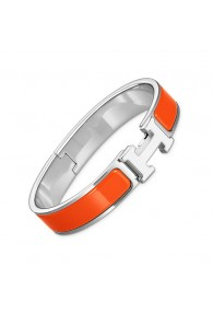 Hermes clic H bracelet white gold narrow fruity orange enamel replica
