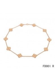 Van Cleef & Arpels Vintage Alhambra Long Necklace Pink Gold 10 Motifs